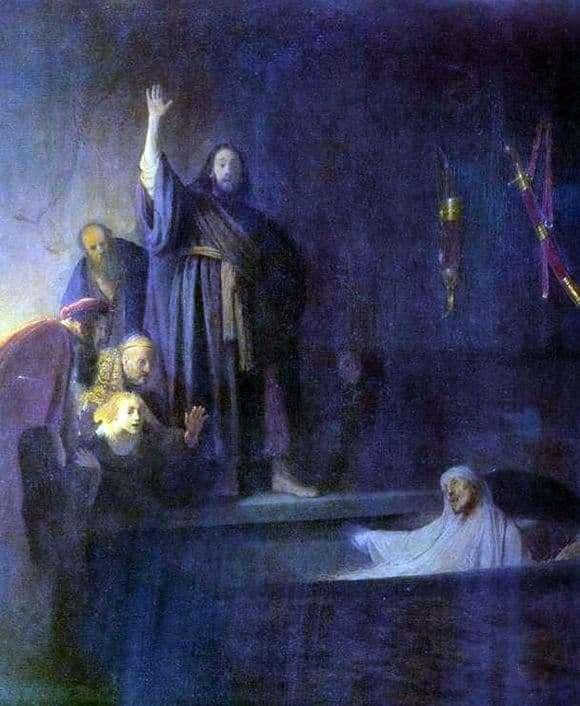 Description of the painting by Rembrandt Harmensz van Rijn The Resurrection of Lazarus