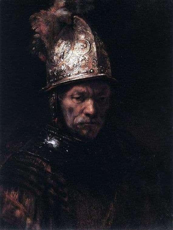Description of the painting by Rembrandt Harmensz van Rijn A man in a golden helmet