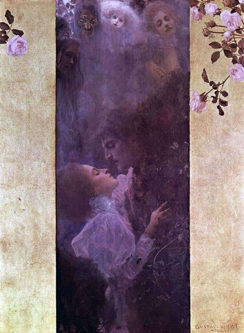 Description of the painting by Gustav Klimt Love