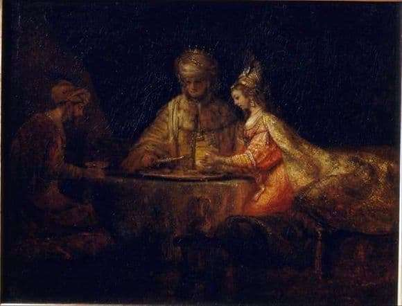 Description of the painting by Rembrandt Artaxerxes, Haman and Esther