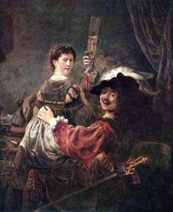 Description of the painting by Rembrandt Harmens van Rijn Self portrait with Saskia