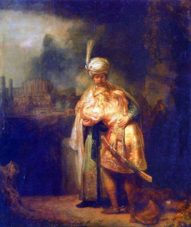 Description of the painting by Rembrandt Harmens Van Rijn The Farewell of David to Jonathan