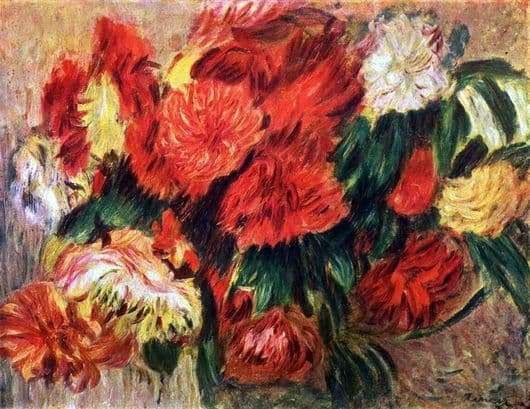 Description of the painting by Pierre Auguste Renoir Chrysanthemums