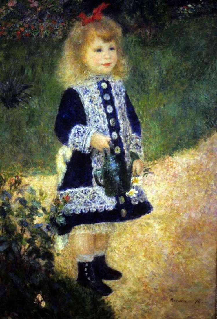 Description of the painting by Pierre Auguste Renoir Girl with a watering can