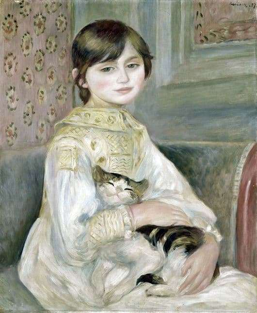 Description of the painting by Pierre Auguste Renoir Julie Manet with a cat