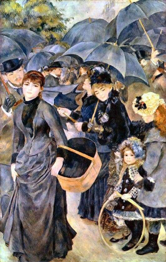 Description of the painting by Pierre Auguste Renoir Umbrellas