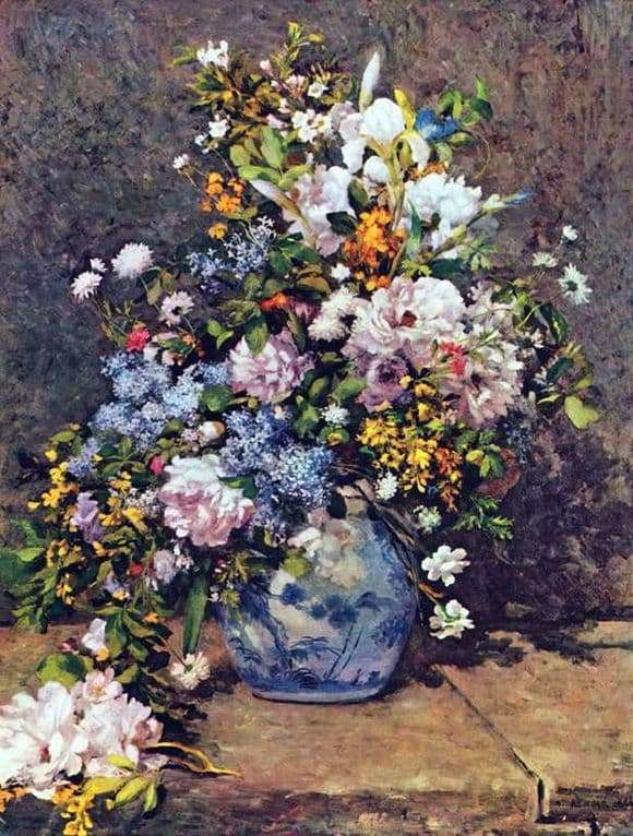 Description of the painting by Pierre Auguste Renoir Still life with a large flower vase