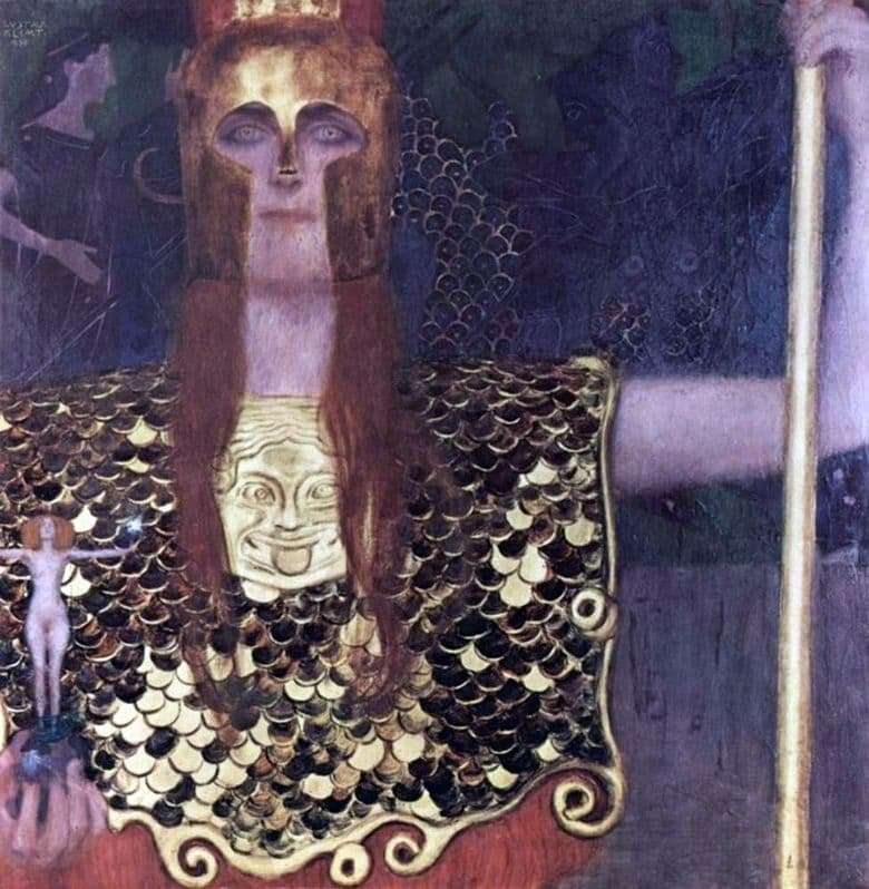 Description of the painting by Gustav Klimt Athena Pallas (1898)