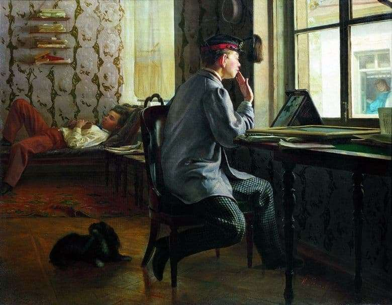 Description painting by Ilya Repin Preparation for the exam