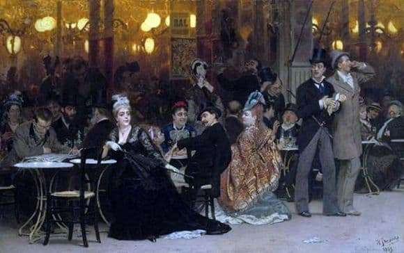 Description of the painting by Ilya Repin Paris Cafe