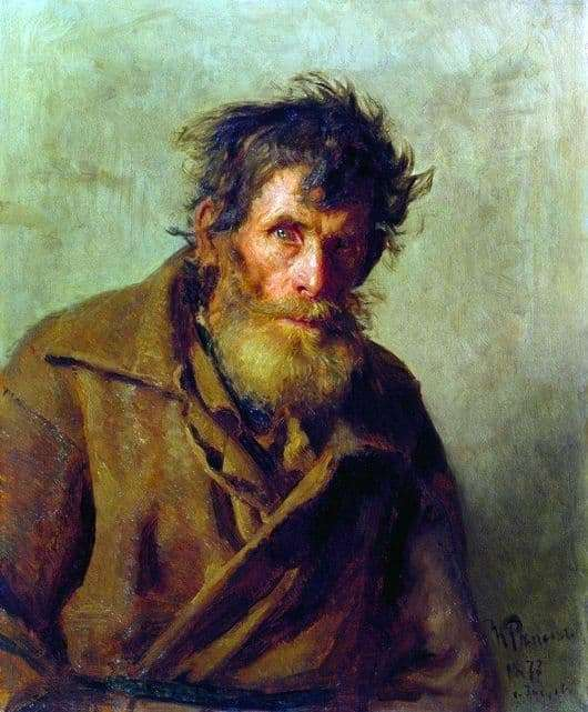 Description of the painting by Ilya Repin A peasant from timid