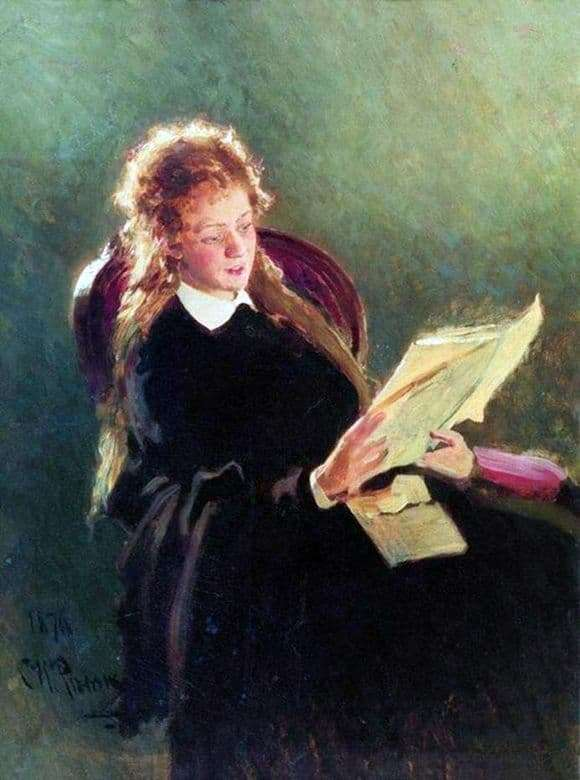 Description of the painting by Ilya Repin Reading girl