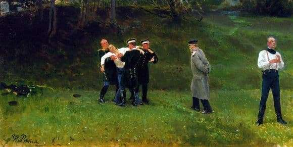 Description of the painting by Ilya Repin Duel