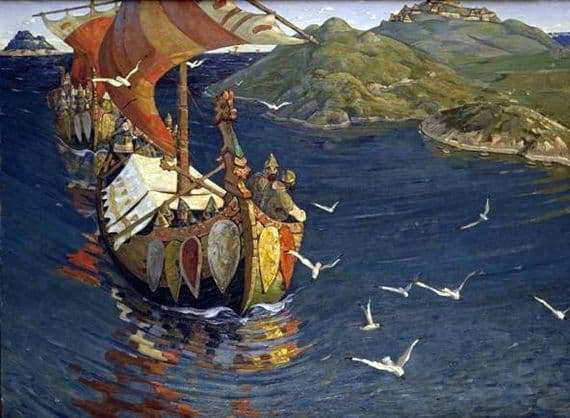 Description of the painting by Nicholas Roerich Overseas guests