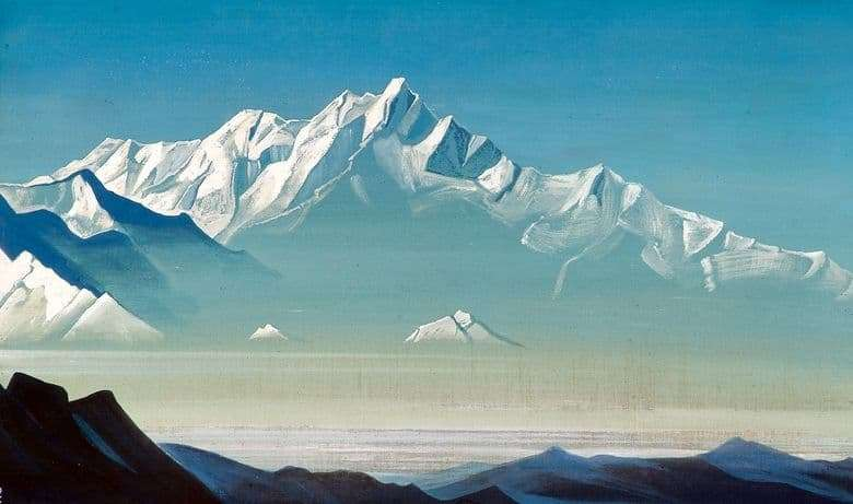 Description of the painting by Nicholas Roerich Mount five treasures
