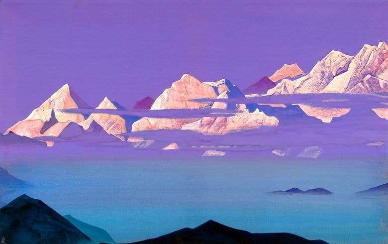 Description of the painting by Nicholas Roerich Himalayas. Pink Mountains