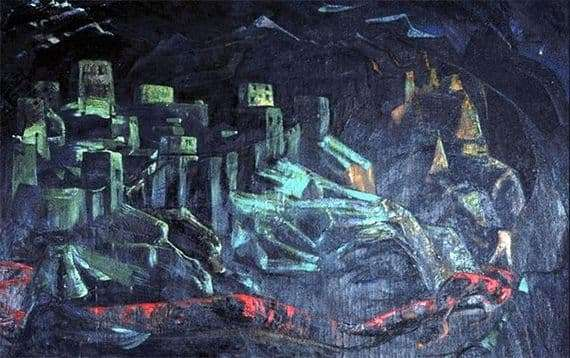 Description of the painting by Nicholas Roerich The Castle is doomed