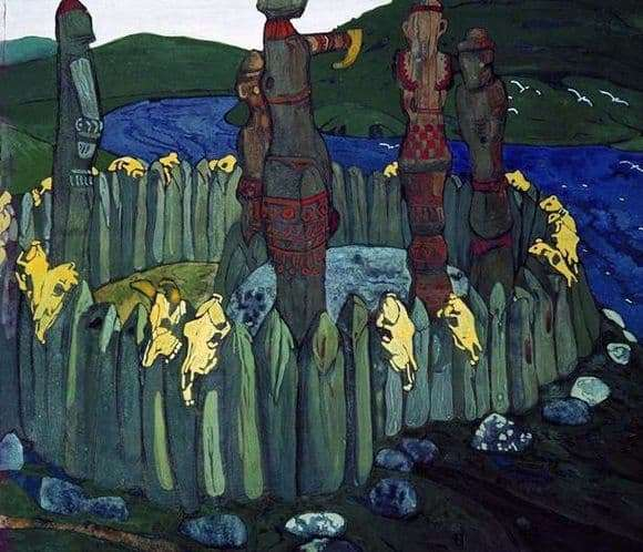 Description of the painting by Nicholas Roerich Idols
