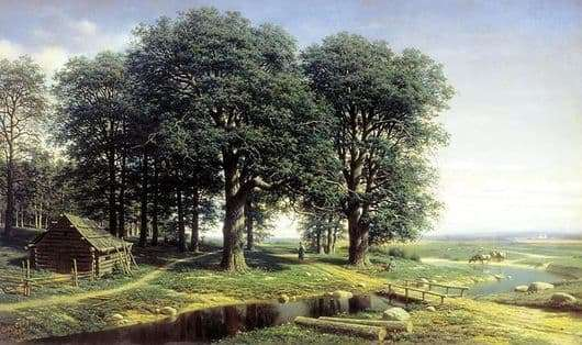 Description of the painting by Mikhail Konstantinovich Klodt von Yurgensburg Oak Grove