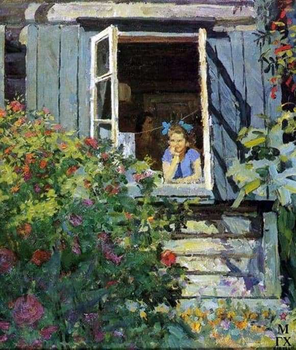 Description of the painting by Fedor Reshetnikov At the dacha