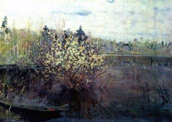Description of the painting by Nicholas Romadin Willows in flood