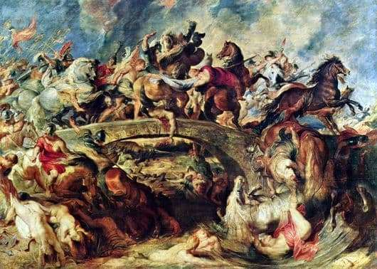 Description of the painting by Peter Rubens Battle with the Amazons