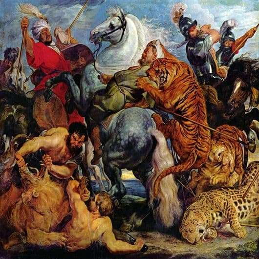 Description of the painting by Rubens Hunting for tigers and lions