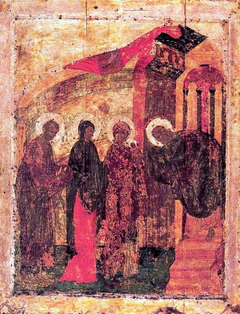Description of the icon by Andrei Rublev The Meeting