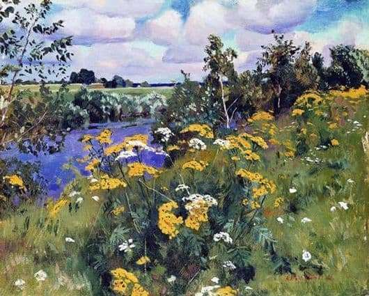 Description of the painting by Arkady Rylov Field ash