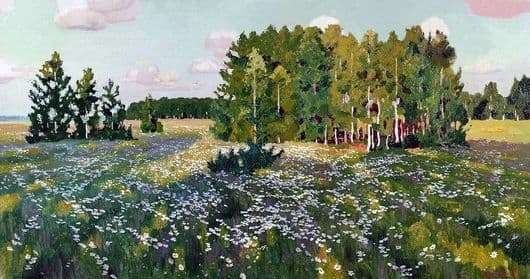 Description of the painting by Arkady Rylov Flowery Meadow