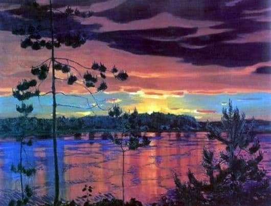 Description of the painting by Arkady Rylov Sunset