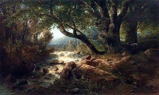 Description of the painting by Alexei Savrasov Waterfall