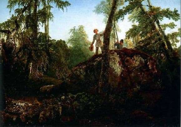 Description of the painting by Alexei Savrasov Stone in the forest at the spill