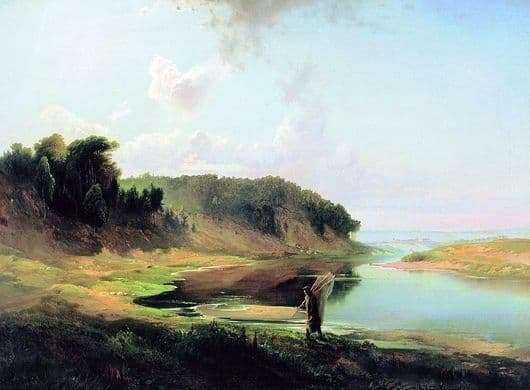 Description paintings Alexei Savrasov Landscape with a river and a fisherman