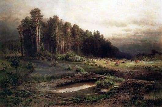 Description paintings Alexei Savrasov Elk Island in Sokolniki