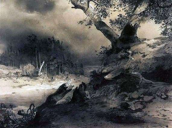 Description of the painting by Alexei Savrasov Thunderstorm