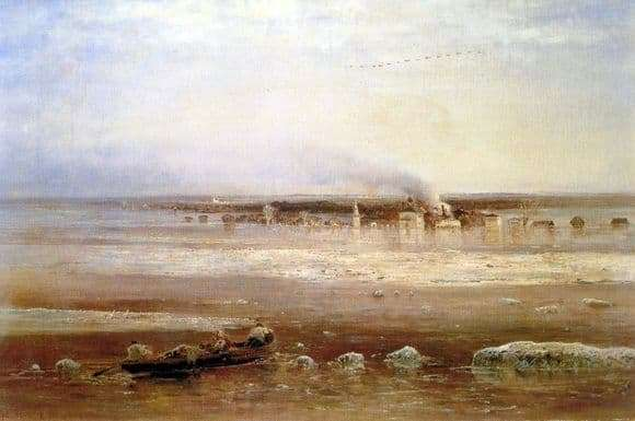 Description paintings Alexei Savrasov Spill the Volga near Yaroslavl