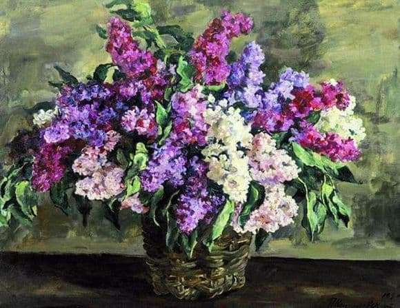 Description of the painting by Peter Konchalovsky Lilac in a basket