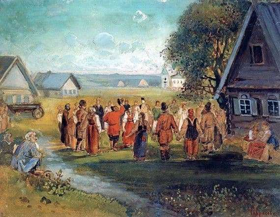 Description of the painting by Alexei Savrasov Round dance in the village