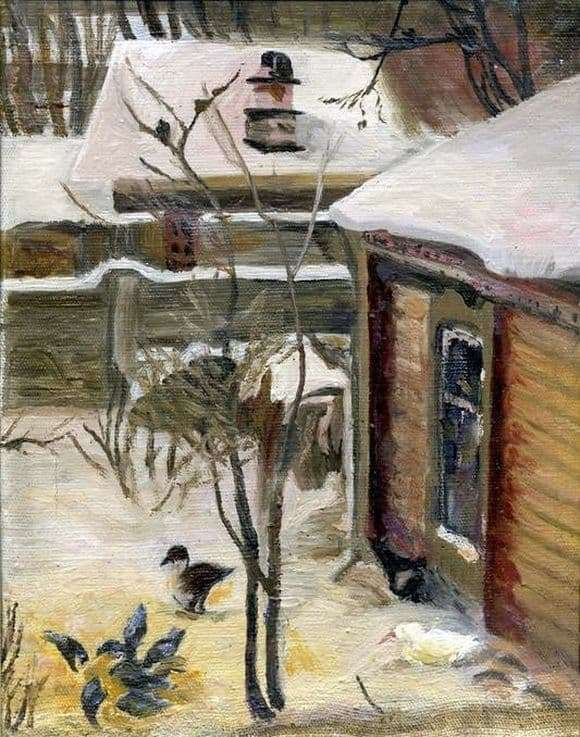Description paintings Alexei Savrasov Yard. Winter