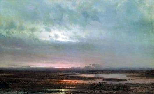 Description of the painting by Alexei Savrasov Sunset over the swamp