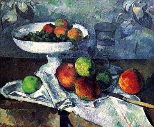 Description of the painting by Paul Cezanne Vase with fruit