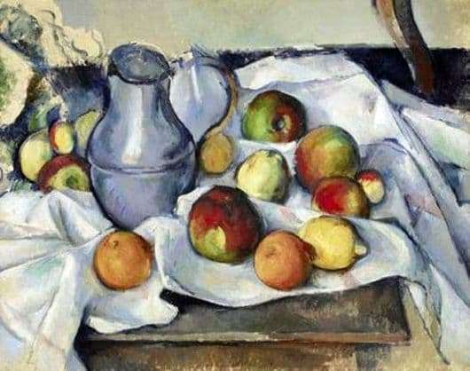 Description of the painting by Paul Cezanne Still Life. Jug and Fruit