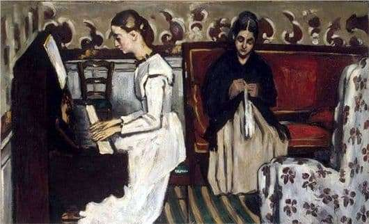 Description of the painting by Paul Cezanne Girl at the piano