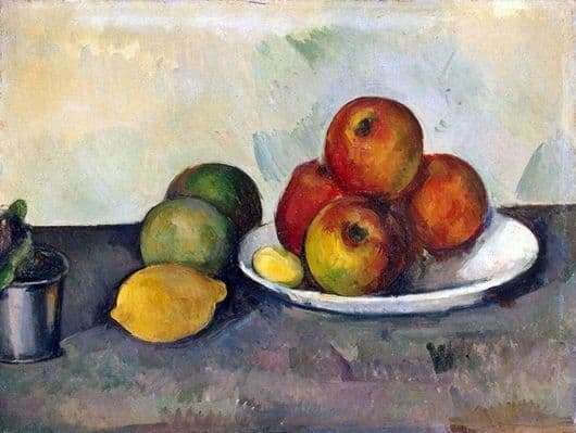 Description of the painting by Paul Cezanne Apples