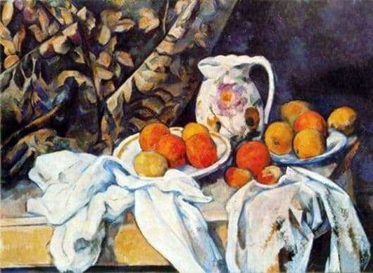Description of the painting by Paul Cezanne Still Life with a Jug (Still Life with Drapery)