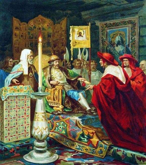 Description of the painting by Heinrich Semiradsky Alexander Nevsky takes papal legates