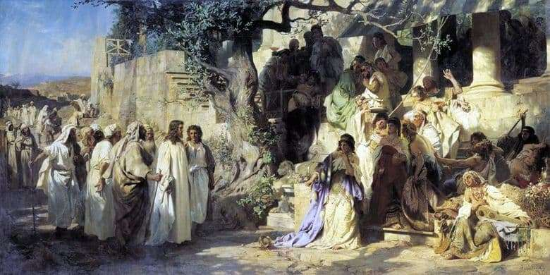 Description of the painting by Heinrich Semiradsky Christ and the sinner