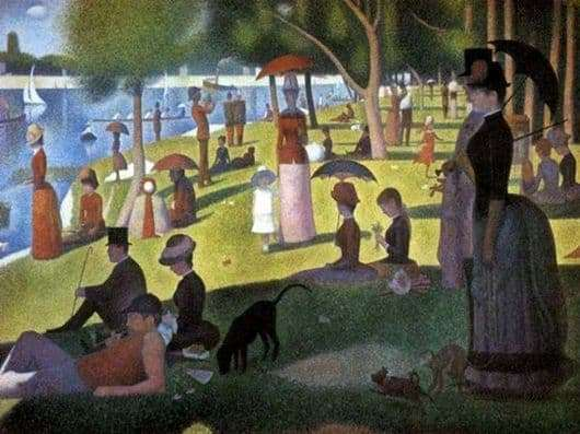 Description of the painting by Georges Pierre Seurat Sunday Walk on the Island of Grand Jatt