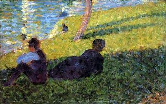 Description of the painting by Georges Seurat Man and Woman